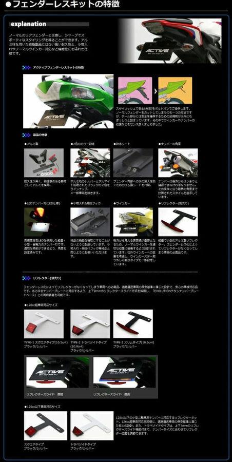 【在庫あり】ACTIVE アクティブ フェンダーレスキット ZRX1200 DAEG
