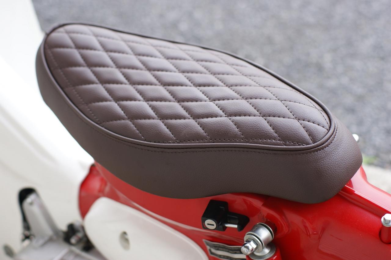 GM-MOTO ジーエムモト カブ用 ダイヤカット カスタムシート ブラウン カブ