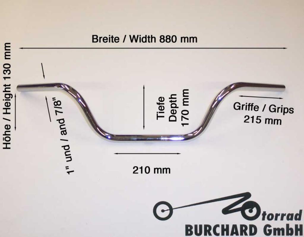 "MOTORRAD BURCHARD モトラッド バーチャード Handlebar""Apehanger""880 mm wide 130 mm high for""1""(25.4 mm) clamping with 3 holes chrome TUV"