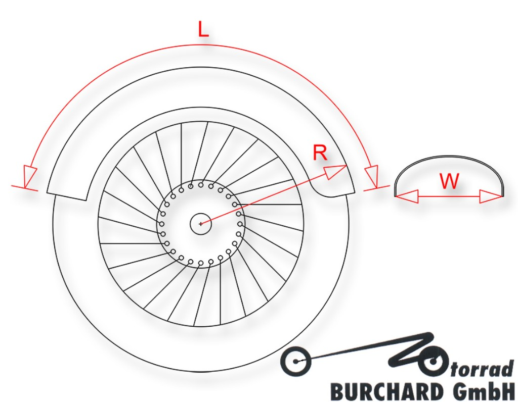 "MOTORRAD BURCHARD モトラッド バーチャード Fender""Round""for rear wheels for 15""- 17""steel raw"