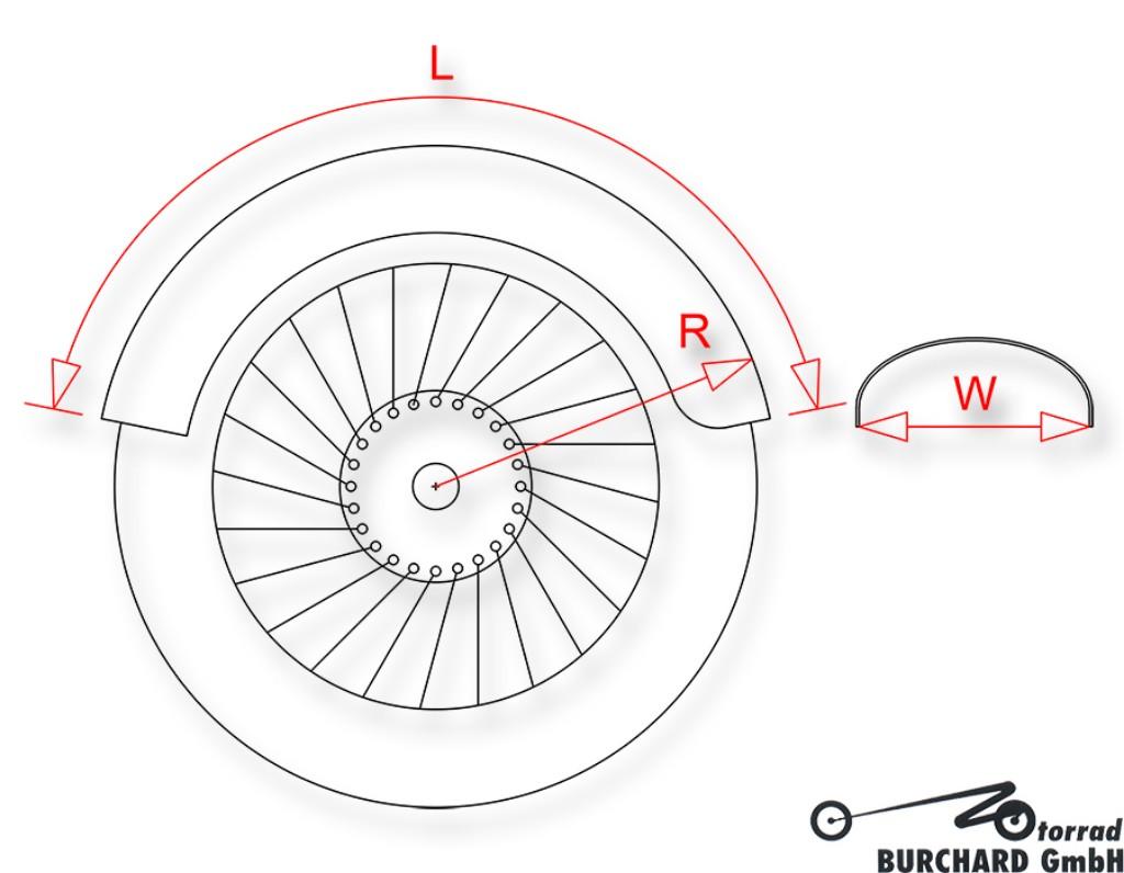 """MOTORRAD BURCHARD モトラッド バーチャード Fender""""Bobber""""for rear wheels for 15""""- 17""""steel raw"""