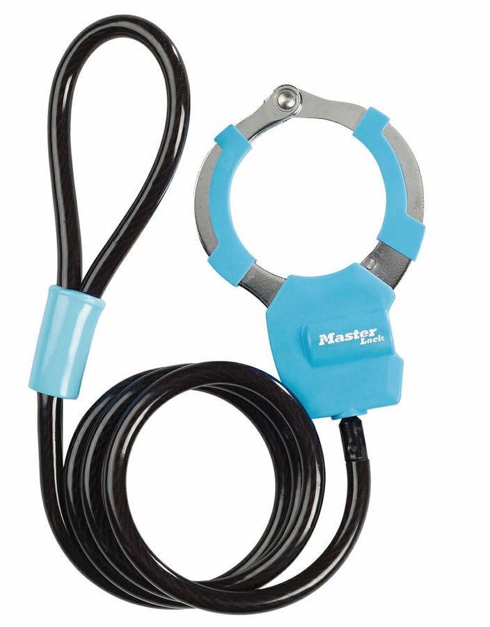 Master Lockマスターロック チェーンワイヤーロック 手錠型ケーブルロック 送料無料 一部地域を除く マスターロック Lock カラー:ブルー 驚きの値段