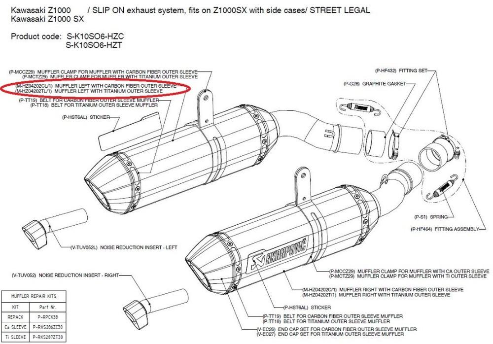 AKRAPOVIC アクラポビッチ 【リペアパーツ】M-HZ04202CL/1 muffler left with carbon fiber outer sleeve NINJA1000 Z1000 Z1000SX