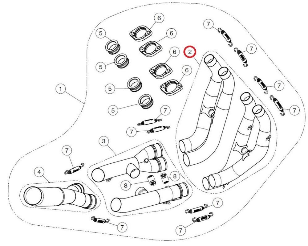 AKRAPOVIC アクラポビッチ その他マフラーパーツ 【リペアパーツ】H-Y6R8 header set SS YZF-R6