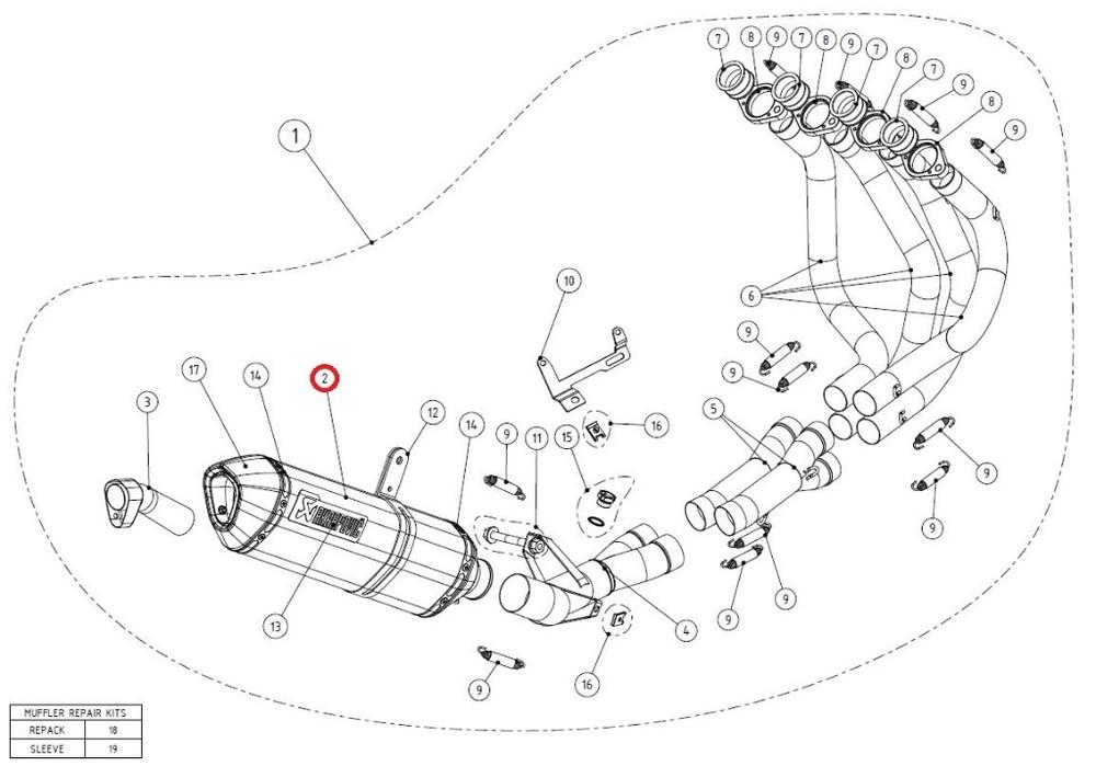 AKRAPOVIC アクラポビッチ その他マフラーパーツ 【リペアパーツ】M-Z02805C muffler NINJA1000 Z1000 Z1000SX
