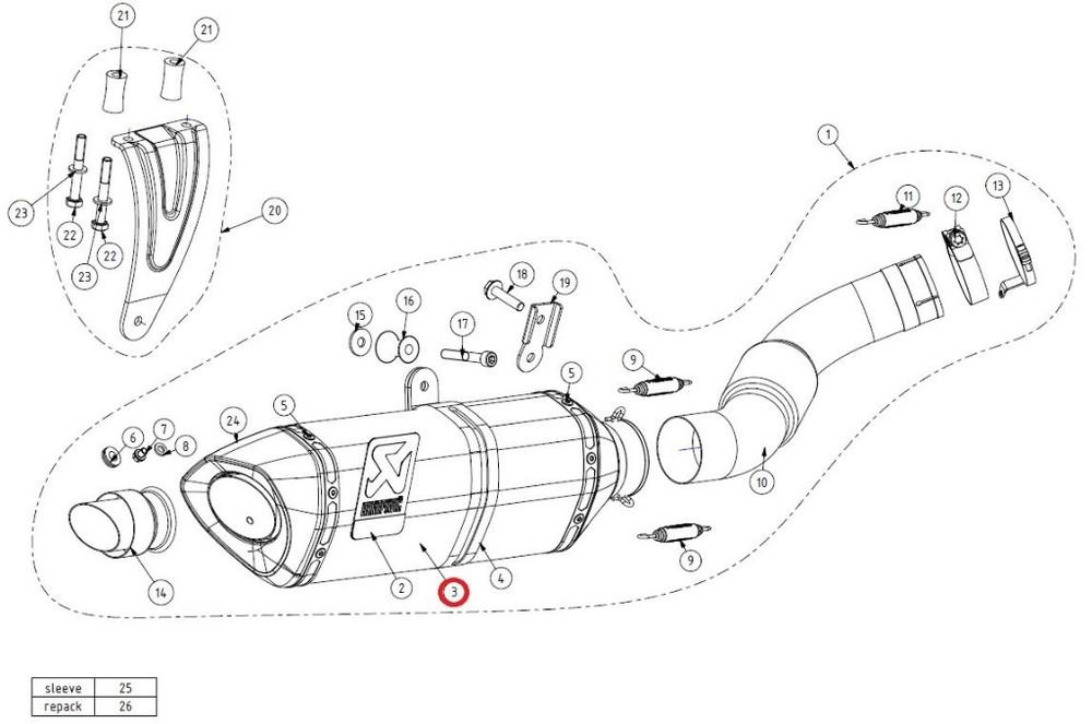AKRAPOVIC アクラポビッチ 【リペアパーツ】M-HR04805C muffler RSV4