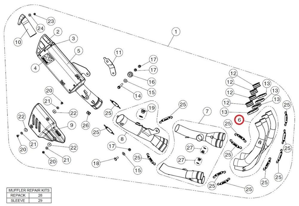 AKRAPOVIC アクラポビッチ 【リペアパーツ】H-Y6RT8 header set ti YZF-R6