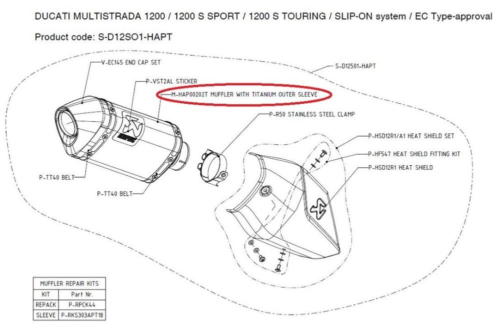 AKRAPOVIC アクラポビッチ 【リペアパーツ】M-HAP00202T muffler with titanium outer sleeve MULTISTRADA1200 MULTISTRADA1200S