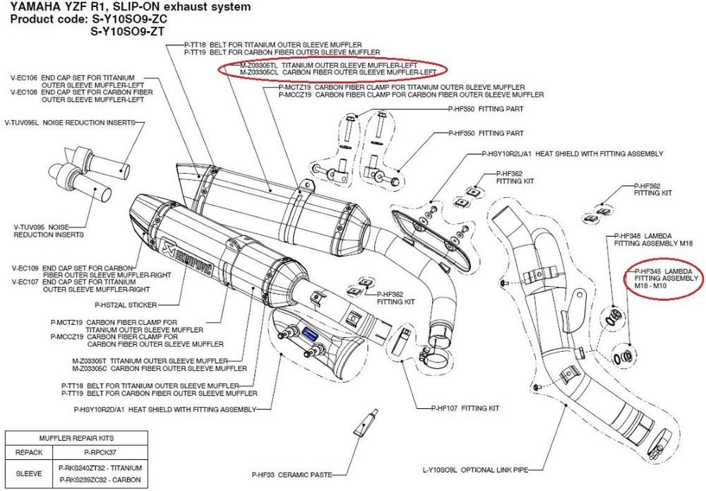 AKRAPOVIC アクラポビッチ 【リペアパーツ】M-Z03305CL carbon fiber outer sleeve muffler-left YZF-R1