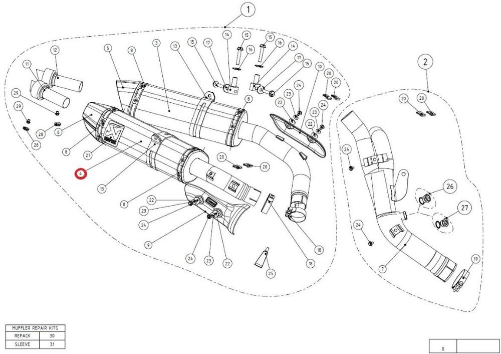 AKRAPOVIC アクラポビッチ 【リペアパーツ】M-HZ03205T/2 muffler ti YZF-R1