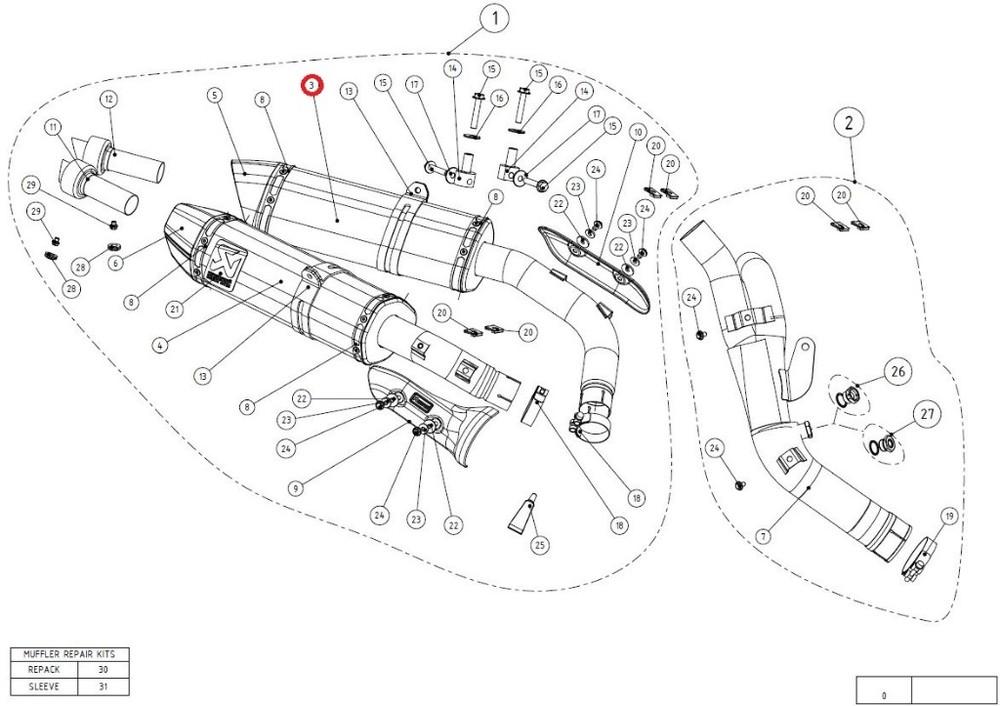 AKRAPOVIC アクラポビッチ 【リペアパーツ】M-HZ03205CL/1 muffler ca YZF-R1