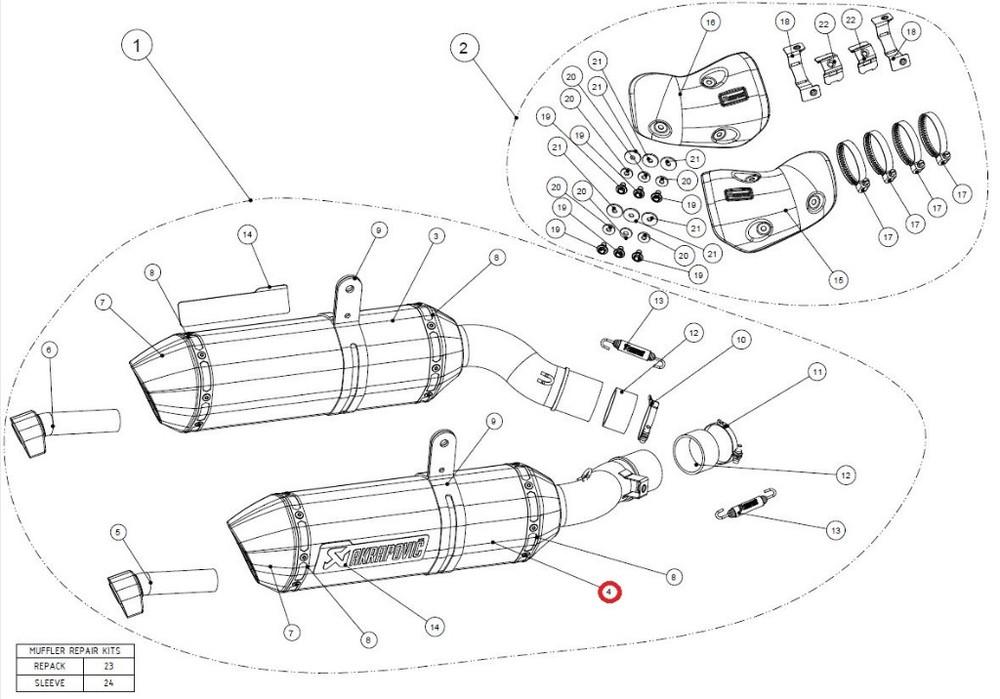 AKRAPOVIC アクラポビッチ 【リペアパーツ】M-HZ04202T/3 muffler r ti Z1000