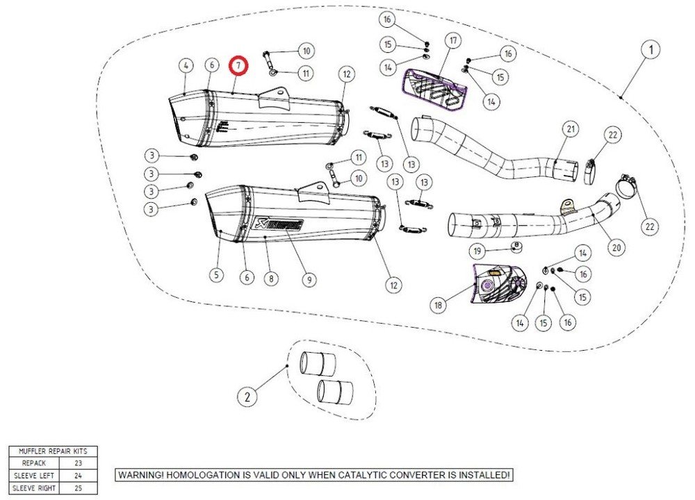 AKRAPOVIC アクラポビッチ 【リペアパーツ】M-HZAA00302TL/1 muffler ZZR1400 (ZX-14)