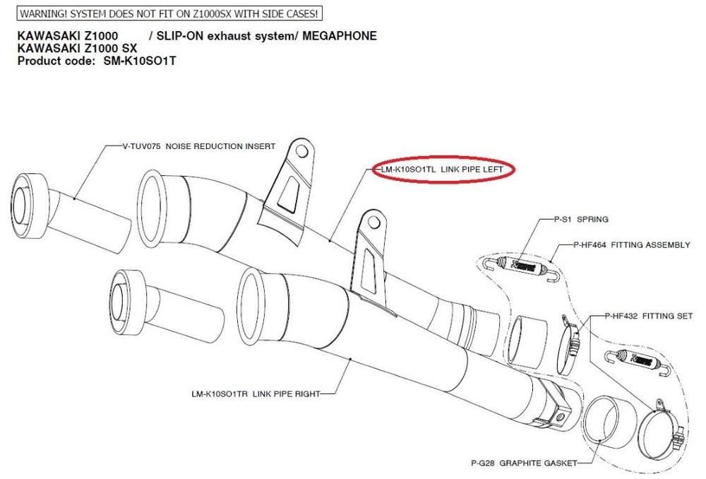 AKRAPOVIC アクラポビッチ その他マフラーパーツ 【リペアパーツ】LM-K10SO1TL link pipe left NINJA1000 Z1000 Z1000SX