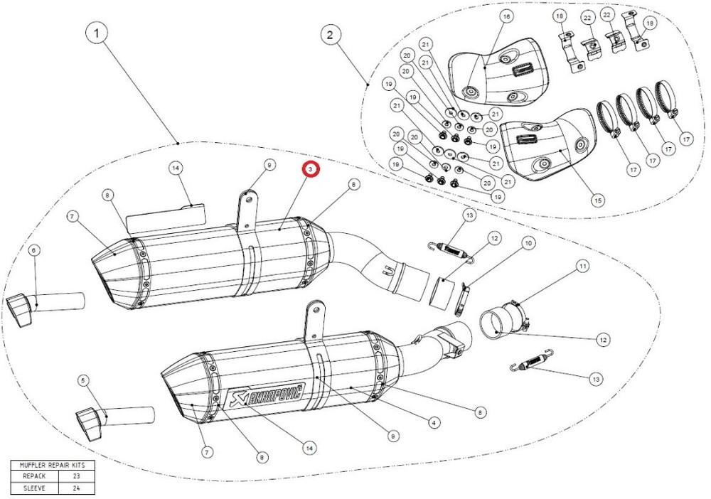 AKRAPOVIC アクラポビッチ 【リペアパーツ】M-HZ04202CL/2 muffler l ca NINJA1000 Z1000SX