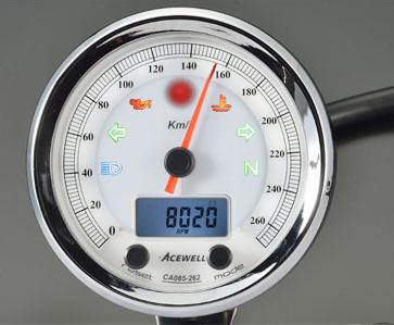 ACEWELL エースウェル スピードメーター 多機能デジタルメーター 回転数:210km/h/カラー:ホワイトパネル