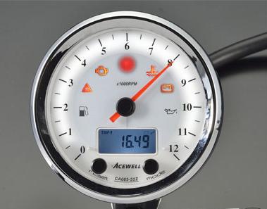 ACEWELL エースウェル スピードメーター 多機能デジタルメーター 回転数:6000rpm/カラー:ホワイトパネル