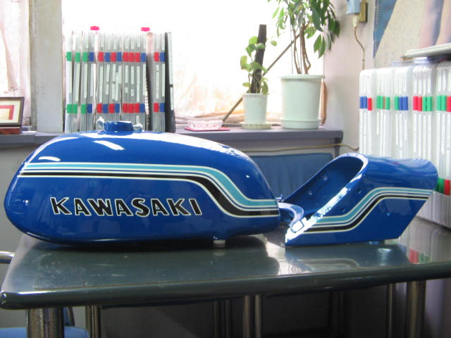 バイクペイント.com Bike Paint.com スプレータイプ塗料 750SS H2ブルーレインボー図面つき塗料セット 750SS H2