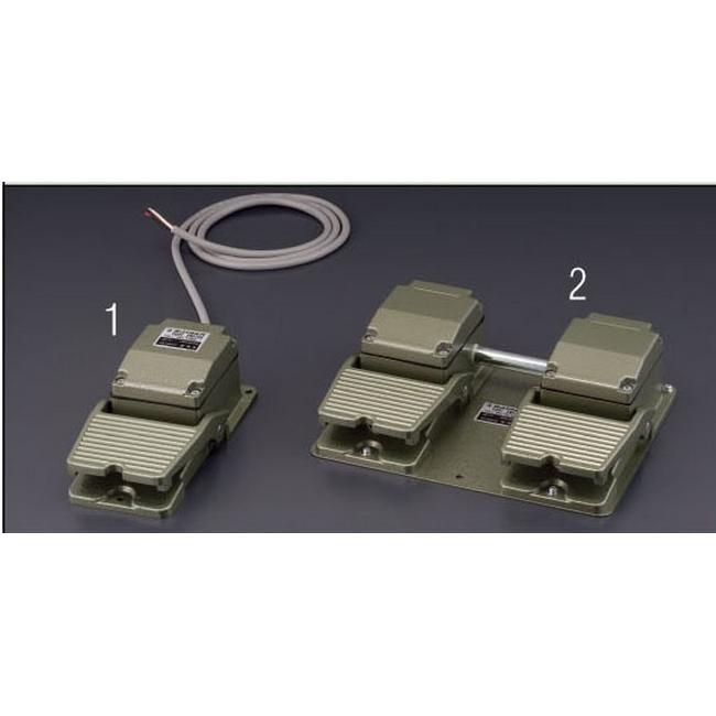 ESCO エスコ AC250V/10A[1c]2連フットスイッチ(産業用防雨型)