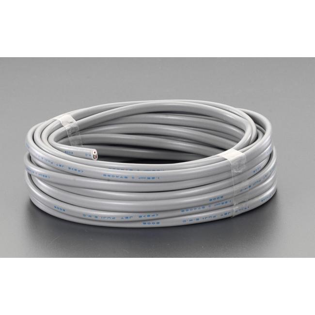 ESCO エスコ 配線関連 125V/12A/50mビニールキャプタイヤケーブル(黒)