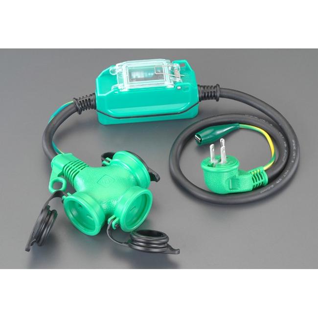ESCO エスコ その他、配線用ツール 15A/1m[防雨型]漏電保護専用プラグ[L型]
