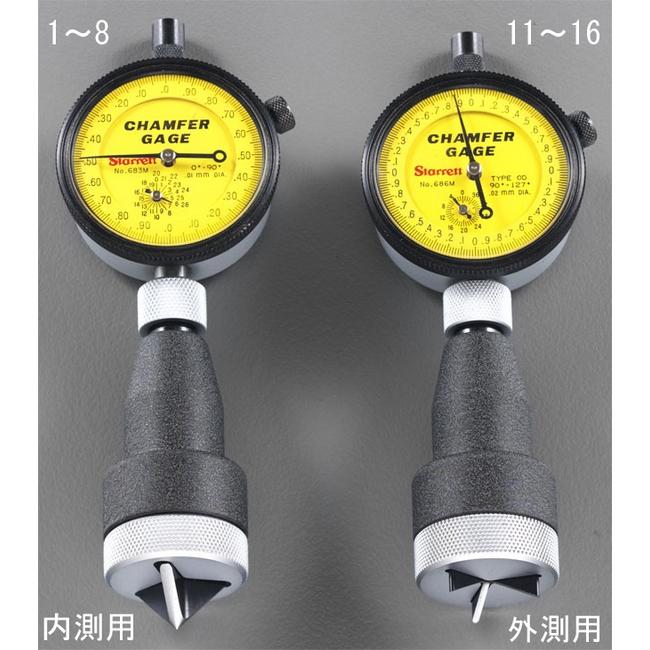 ESCO エスコ その他、計測ツール 0/25.0mm/0/90゜内側面取りゲージ