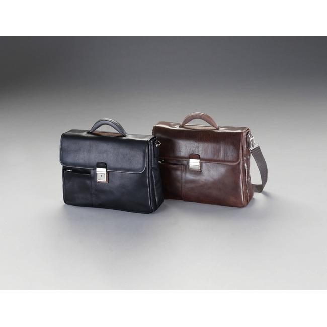 ESCO エスコ その他の工具 400x120x300mmビジネスバッグ(本革製/ブラウン)