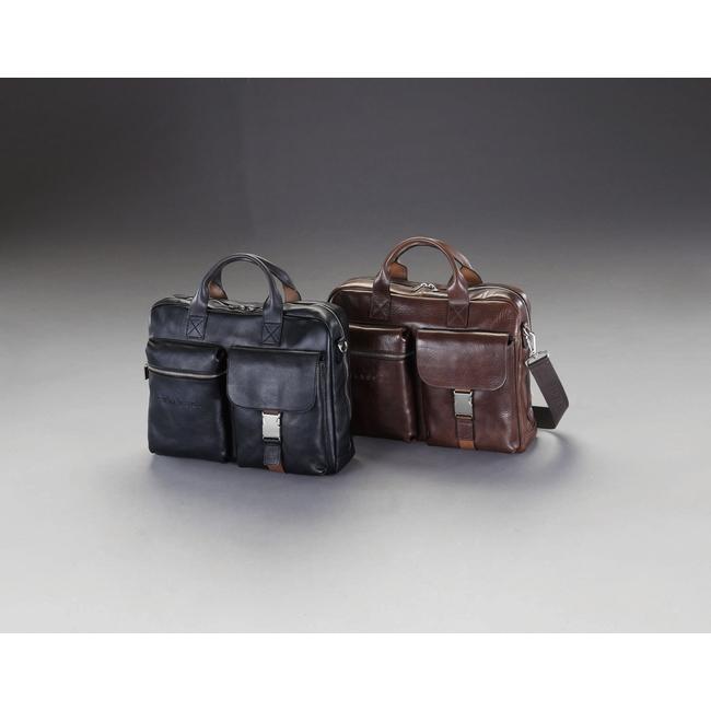 ESCO エスコ 400x100x300mmビジネスバッグ(本革製/ブラック)