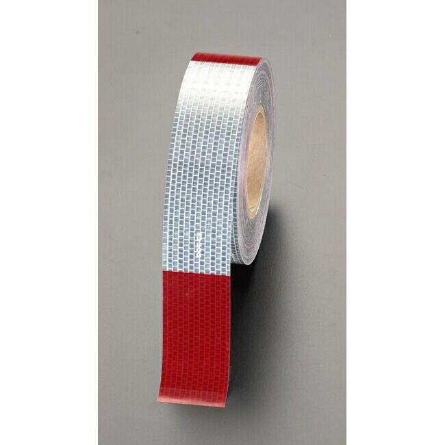 ESCO エスコ 50mmx45m警告反射テープ(赤/白)
