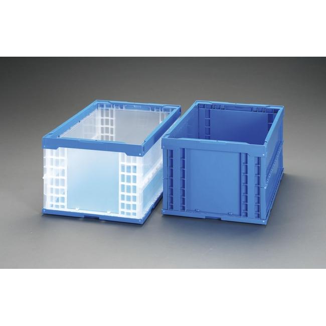 ESCO エスコ その他の工具 649x439x327mm/74.0L折畳コンテナ(透明青)5個