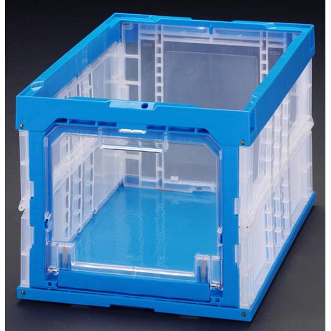 ESCO エスコ 530x366x322mm/50.4L折畳コンテナ(窓開青)5個