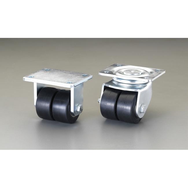 ESCO エスコ 工具 125mm固定金具キャスター(ツインホイール)