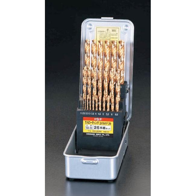 ESCO エスコ その他の工具 1.0-13mm25本組ドリル(Tin-CoHSS)