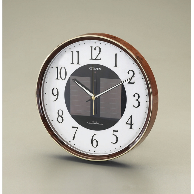 ESCO エスコ 30.5cmソーラー電源[電波]掛時計