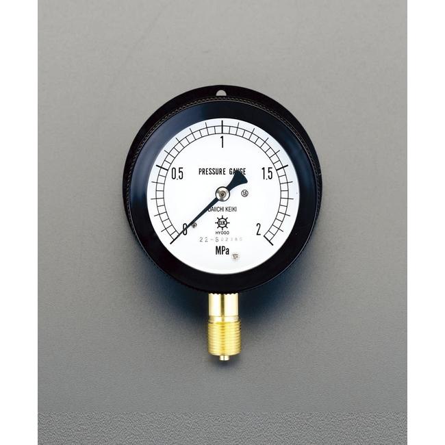 ESCO エスコ 75mm/0/10MPa圧力計(つば付密閉型)