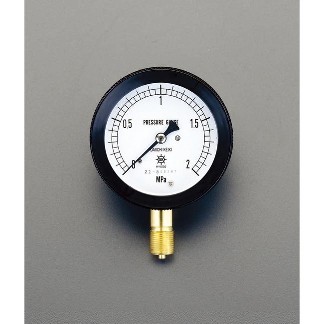 ESCO エスコ 100mm/0/5.0MPa密閉型圧力計