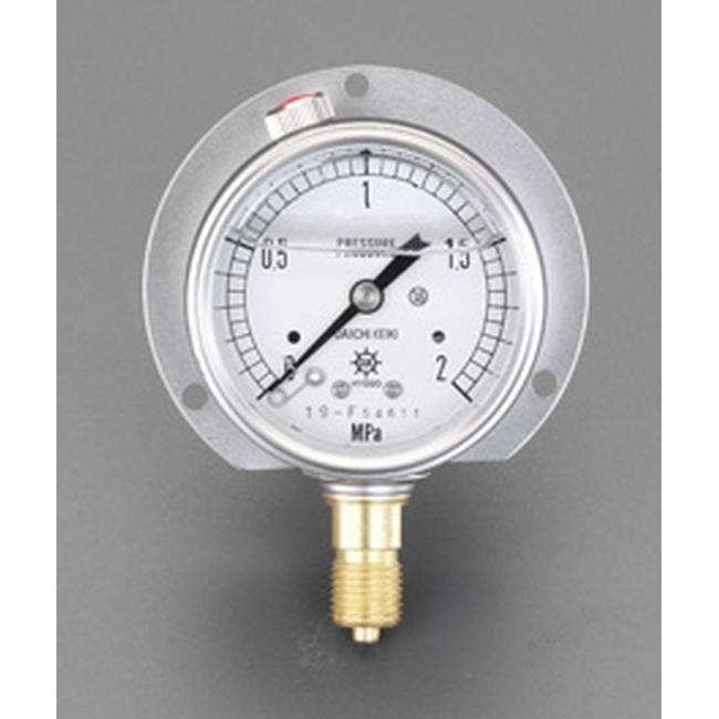 ESCO エスコ 100mm/0-0.6MPaつば付圧力計(グリセリン入)