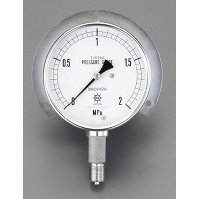 ESCO エスコ 100mm/0-1.6MPaつば付圧力計(ステンレス製)