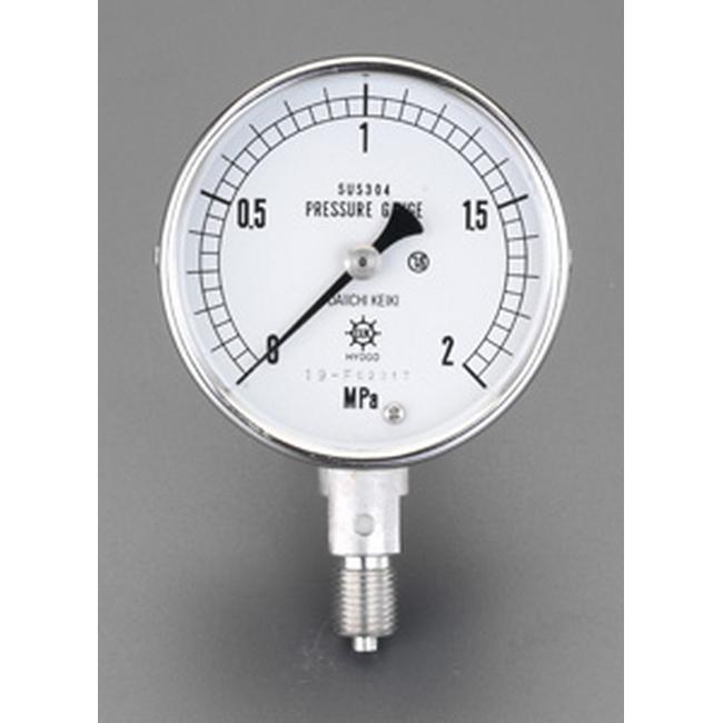 ESCO エスコ 100mm/0-2.0MPa圧力計(ステンレス製)