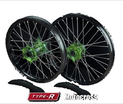 TGR TECHNIX GEAR TGRテクニクスギア ホイール本体 TYPE-R Motocross(モトクロス)用ホイール ニップルカラー:オレンジ ハブカラー:グリーン(KAWASAKI COLOR) KLX450R KX250 KX450F