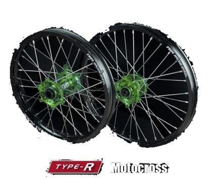 TGR TECHNIX GEAR TGRテクニクスギア ホイール本体 TYPE-R Motocross(モトクロス)用ホイール ニップルカラー:ブルー ハブカラー:グリーン(KAWASAKI COLOR) KLX450R KX250 KX450F