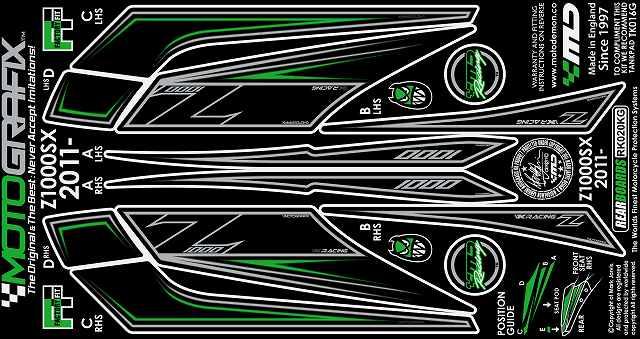 【在庫あり】MOTOGRAFIX モトグラフィックス ステッカー・デカール ボディーパッド Ninja1000[Z1000SX](11-)