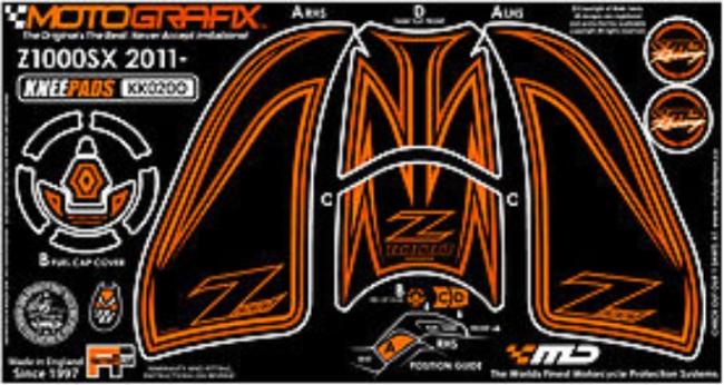 【ポイント5倍開催中!!】MOTOGRAFIX モトグラフィックス ステッカー・デカール ボディーパッド カラー:オレンジ Ninja1000[Z1000SX](11-)