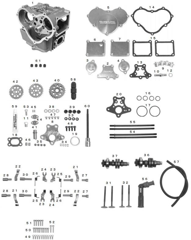 SP武川 SPタケガワ DESMO ヘッドキット(100cc 106cc 15/15カム) ゴリラ ゴリラ モンキー モンキー
