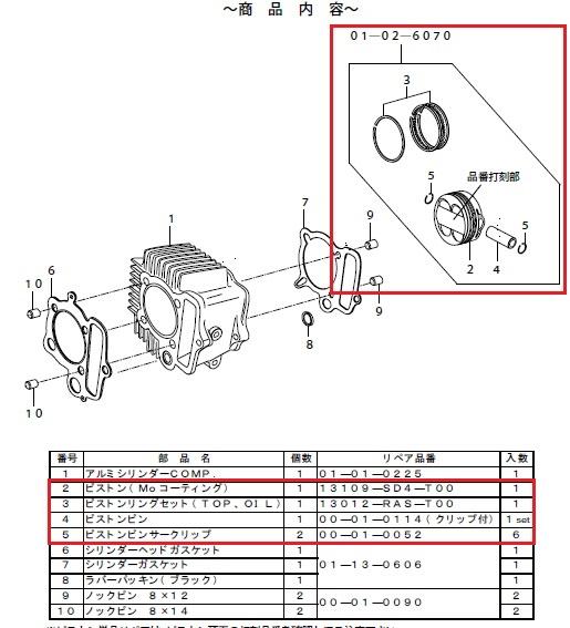 SP武川 SPタケガワ ボアアップキット・シリンダー 【補修用パーツ】DOHC 4VALVEシリンダーキット(125cc/SCUT) スカット