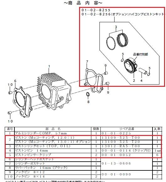 SP武川 SPタケガワ シリンダーキット(125cc/SCUT) スカット
