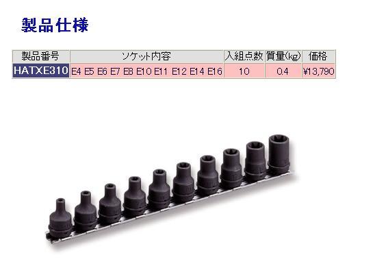 TONE トネ インパクトレンチ用ソケット類 インパクト用ヘックスローブソケットセット(ホルダー付)/9.5mm