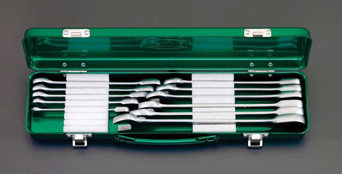 ESCO エスコ 工具 11本組片目片口スパナ(ラチェット式)
