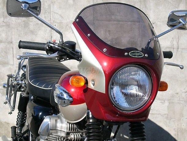 CHIC DESIGN シックデザイン ビキニカウル・バイザー ロードコメット カラー:スモーク カラー:ルミナスポラリスブルー/アトミックシルバー W400 W650 W800