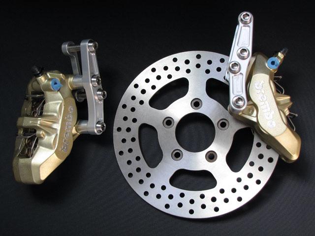 一国サイクルワークス Ichikoku cycle works ディスクローター 9・1/2(ナインハーフ)ゴールドキャリパーブレーキキット (ポリッシュローター) キャリパーサポートカラー:ブラックアルマイト TOURING(FLH) MODEL